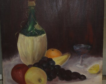 Vintage Still Life Oil Painting on Board/ Signed P. Eaues