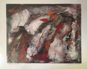 Upstream Voyage #2,   John Avakian Original Abstract Modernist Monoprint, Landscape