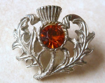 Vintage Scottish Thistle Flower Brooch With Large Rhinestone.