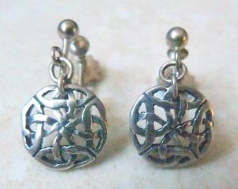 Vintage Dainty Sterling Silver Celtic Style Screw Back Earrings.