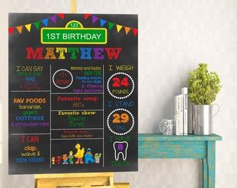 SALE 25% OFF Sesame Street Chalkboard Birthday Stats