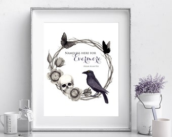 The Raven - Edgar Allan Poe - Quote Print - Halloween Print - 8x10 - Instant Download