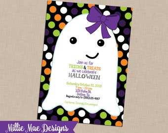 SALE 25% OFF Custom Ghost Halloween Invitation - Birthday - Halloween Party - Baby Shower