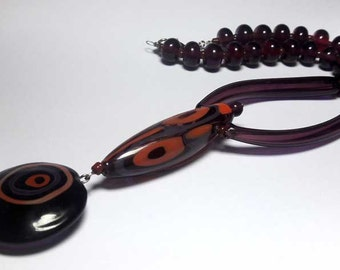 Beaded Jewelry Handmade Lampwork Necklace. Amethyst, brick, purple. Frosted beads Hollow balls .