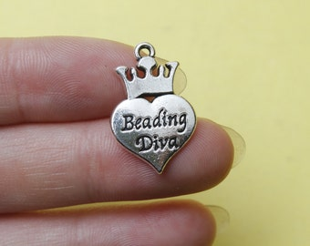 Silver Beading diva charms 15x24mm