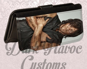 Womens bifold leatherette wallet Norman Daryl Reedus holds checkbook and plenty of card room