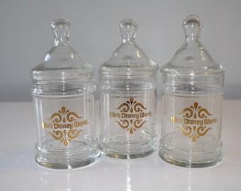 Set of 3 Vintage Walt Disney World Glass Apothecary Jars