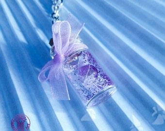 Purple Navi in a Bottle Charm Necklace