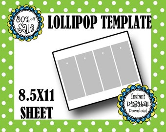 LOLLIPOP TEMPLATE - Party Favor Template - Baby Shower Favor - Lollipop Template - Commercial Use