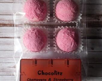 Strawberry & Champagne White Chocolate Truffles - Treat Pack(6 Pcs)