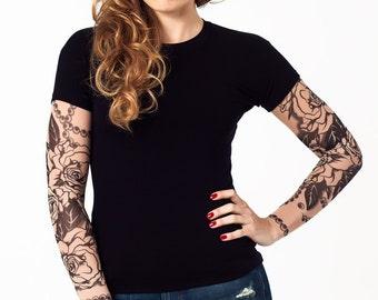 Temporary tattoo sleeve etsy uk for Tattoo sleeve shirts for women