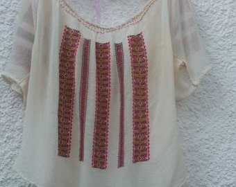 Romanian vintage peasant blouse with hand red-orange-grey embroidery