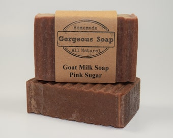 Pink Sugar Goat Milk Soap - All Natural Soap, Handmade Soap, Homemade Soap, Handcrafted Soap