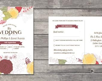 Printable wedding invitation and RSVP  - Marsala