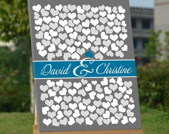 Guest Book Alternative, Grey Wedding Guestbooks, Hearts Guest Book, Canvas Guest Book for Bridal Shower Party,Wedding Gift, Anniversary Gift