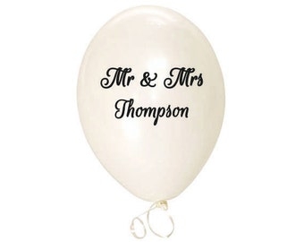 Wedding balloon etsy mr and mrs balloons custom balloons white balloons personalized wedding balloons party junglespirit Images