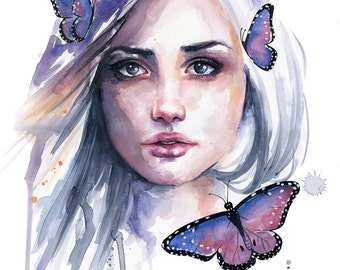 Watercolor Portrait Painting - Fine Art Giclee Print by Emily Luella