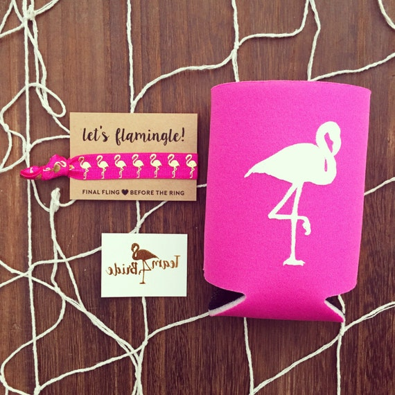 SALE Flamingo Bachelorette Favor Gift Set | Metallic Gold Tattoo, Hair Tie + Drink Cooler | Bachelorette Gift, Bachelorette Party Favor