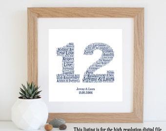 Personalised 12th ANNIVERSARY GIFT - Word Art - Printable Art - Anniversary Gift - Unique Anniversary gift - 12th Wedding Anniversary Gift