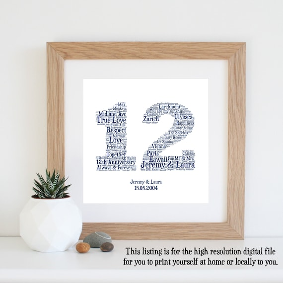 12 Wedding Anniversary Gift Ideas: Personalised 12th ANNIVERSARY GIFT Word Art Printable Art