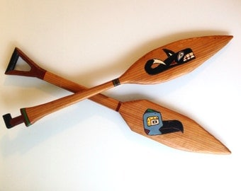 """Hand Carved and Painted Nootka Small Canoe Paddles Whale Raven Thunderbird First Nation Native American 1971 24""""L"""