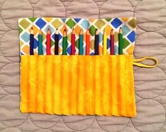 Colored Pencil Roll, Colored Pencil Tote, Colored Pencil Case, Colored Pencil Holder, Pencil Organizer, Pencil Travel Case, Pencil Roll Up