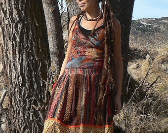 long skirt out of cotton and patchwork