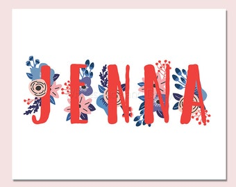 Jenna Personalized Name Sign Printable Name Sign Printable Art Printable Wall Art Birthday Party Decor Baby Name Sign Party Printable