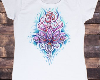 Women's White T-shirt Illustrated Lotus Om Motif Print TS170- 30-34