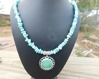 Turquoise Necklace,Sterling Silver,