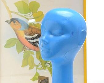 Vintage female Mannequin head, vintage blue plastic mannequin