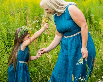 Matching Mom and Daughter linen dresses,  linen dress blue, Matching Outfits linen, Mother daughter matching  dresses, Mommy and me clothing