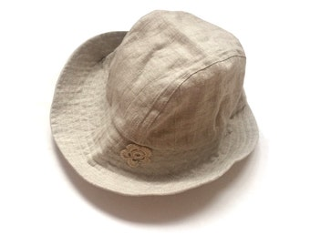 Girls Linen hat beige, Girls sun hat, summer linen hat, girls linen hat,  flax hat, handmade linen hat