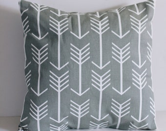16 x 16 gray and white arrow pillow cover/decorative pillow/arrows/nursery pillow/handmade