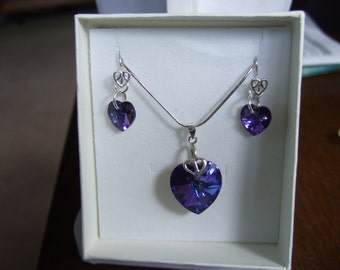 """16"""" Sterling Silver Snake Chain Necklace and Earring Set with Swarovski Heart Crystals"""