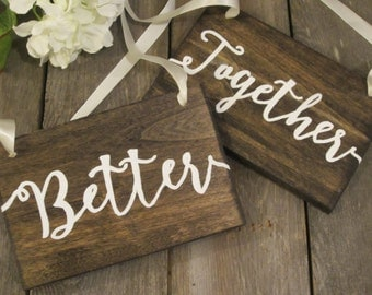 Rustic wedding sign, wedding sign wood, chair sign, better together, wedding chair sign, wood chair sign, hanging wedding sign, rustic sign