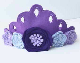 Felt Birthday Crown - Felt Crown - Purple - Princess Madelyn Crown