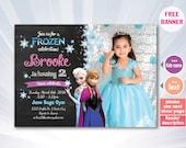 Frozen Chalkboard Invitation. Frozen Birthday Invitation. Frozen Invitation Printable Cute Elsa Invitation. Frozen Invitation Chalkboard