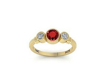 14k Yellow Gold Ring Set with Brilliant Cut Ruby or Sapphire Stone and CZ.