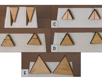 Geometric triangle wood earrings