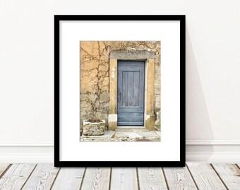 French Decor, European Village, Provence France Photography, Europe Wall Art, Door, Shutter, Travel photo, Fine Art Print, blue, cream