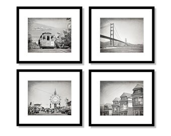 SALE, San Francisco Print Set, San Francisco Photos, Black and White, Set of 4 Prints, California Photography, cable car, golden gate bridge