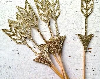 Glittery Arrow / Valentine / Boho / Party Picks | Set of 12