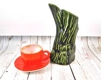 Vintage tea set,Orange teacup,green,tree stump,teapot,creamer,1950,handmade,ceramic creamer,orange saucer, teacup, teapot, handmade ceramic