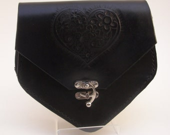 Black leather hand embossed belt pouch