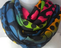 Multicolored Scarf, Round patches, Circle Scarf, spotted scarf, polka dot shawl,Indian stole,oversize scarf,gift ideas for her,Fashion scarf