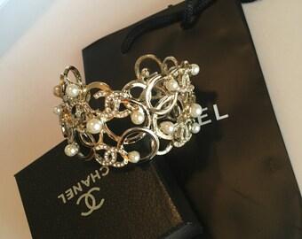 Gold Tone Metal Cuff Bracelet