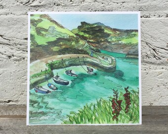 Boscastle Harbour Cornwall watercolour print glossy square greetings card