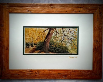 Embroidered Picture, Hand Embroidered Textile Art, Free Motion Machine Embroidery Framed Picture, Hand Dyed Silk, Wooden Frame, Autumn