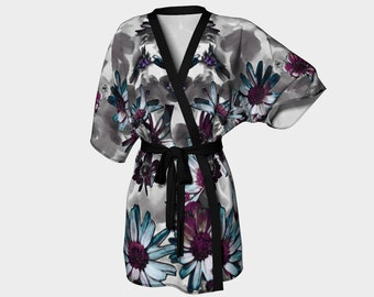 Burgundy Blue Blossoms  Kimono Robe Beach Coverup Clothing Lounging Coverup Beach Wedding Gift Women S-M-L-XL Housecoat